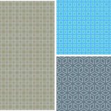 Set of 3 abstract seamless patterns Stock Photo