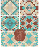 Set of abstract seamless patterns, kaleidoscope ornaments Royalty Free Stock Image