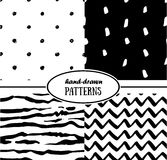 Set of abstract seamless patterns in monochrome Royalty Free Stock Photo