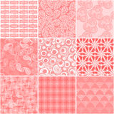 Set of 9 abstract seamless patterns Stock Photo