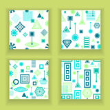 Set Abstract seamless patterns in postmodern Memphis Style blue green on White Royalty Free Stock Photo