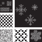 Set of abstract seamless patterns with squares Stock Image