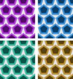 Set of abstract seamless vector pentagonal patterns in different colors. Eps 10 vector vector illustration