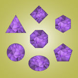 Set of abstract shapes like amethyst. Violet color isolated on color background Stock Photography
