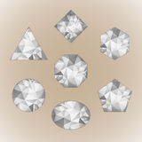 Set of abstract shapes like diamond. Grayscale color isolated on beige background Stock Photo