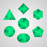 Set of abstract shapes like emerald. Green color isolated on gray background Stock Photography