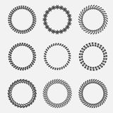 Set of abstract silhouette round leaves laurel foliate wheat wreaths. Flat design. Stock Image