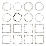 Set of 16 Abstract simple geometric frames. Round and square shapes. Set of 16 Abstract simple trendy geometric frames. Round and square shapes, borders with stock illustration