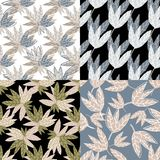 Set of abstract simple leaves wallpaper on background. Hand draw tropical seamless pattern. Design for fabric, textile print, wrapping. Vector illustration stock illustration