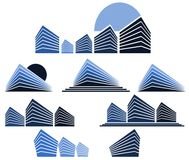 Set of Abstract skyscrapers isolated with sun. Image representing three skyscrapers on an abstract sun at sunset Royalty Free Stock Images