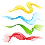 Set of Abstract smoke  curved lines Stock Images