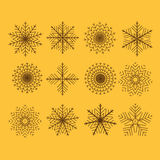 Set of 12  abstract snowflakes Stock Image