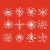 Set of 12  abstract snowflakes Royalty Free Stock Photo