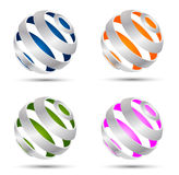 Set of abstract spheres. Set of four abstract 3d colour spheres Stock Images
