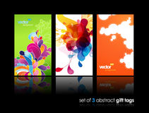 Set of abstract splash and flower gift cards. Set of abstract colorful splash and flower gift cards with reflection. Vector art Stock Images