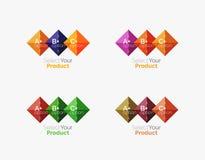 Set of abstract square interface menu navigation button Stock Photos