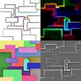 Set of abstract square panels. Set of square abstract images in geometric style from colored squares and rectangles stock illustration