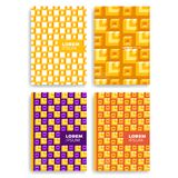 Set of Abstract square pattern for Cards with Layers Overlap. Applicable for Covers, Placards, Posters, Flyers and Banner Designs. Set of Abstract square Royalty Free Stock Photography