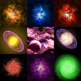 Set of abstract stars nebula generated textures Stock Photography
