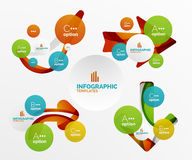 Set of abstract step infographics. Modern composition of geomtric shapes with light effects Royalty Free Stock Image