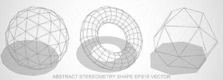 Set of Abstract stereometry shape: sketched Geosphere, Torus, Octahedron.  Royalty Free Stock Photos
