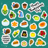 Set of abstract sticker thanksgiving day icon. holiday symbols. Royalty Free Stock Photo