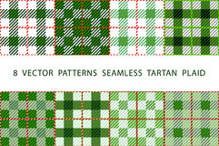 Set of 8 abstract stylish geometrical seamless patterns with celtic ornament of green, black, and white shades VECTOR TARTAN PLAID Stock Image