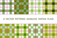 Set of 8 abstract stylish geometrical seamless patterns with celtic ornament of Lime green and white shades VECTOR TARTAN PLAID. Art royalty free illustration