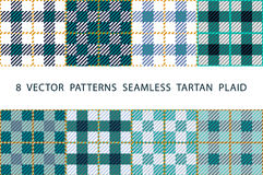 Set of 8 abstract stylish geometrical seamless patterns with celtic ornament of mint., blue, black, and white shades VECTOR TARTAN. PLAID art Royalty Free Stock Images