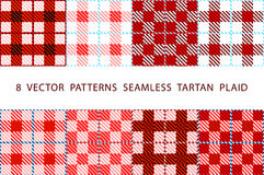 Set of 8 abstract stylish geometrical seamless patterns with celtic ornament of red, black, and white shades VECTOR TARTAN PLAID Royalty Free Stock Photo