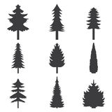 Set of abstract stylized balack trees silhouette illustration Stock Images