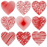 Set of abstract stylized hearts isolated on white. Vector illustration Stock Photos