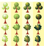Set of abstract stylized trees. Clip art Royalty Free Stock Photo