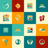 Set of abstract summer icons Royalty Free Stock Photos