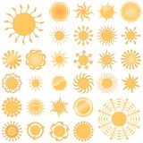 Set of Abstract Suns Royalty Free Stock Photo