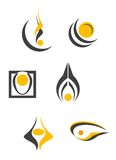 Set of abstract symbols. Set of color abstract symbols isolated on white Royalty Free Stock Photos
