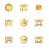 Set of abstract symbols on construction topics Stock Images