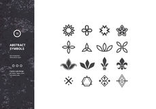 Set of Abstract Symbols and Graphic Elements. Vector Floral Icons. Hipster Designs for Labels, Badges and Logos Royalty Free Stock Images