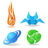Set of abstract symbols, sphere, flame, green Royalty Free Stock Photos
