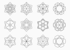 Set of abstract symmetric geometric shapes. royalty free illustration