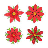 Set of abstract symmetrical red flowers with petals Royalty Free Stock Photos