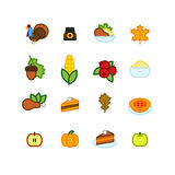Set of abstract thanksgiving day icon. holiday symbols Stock Images