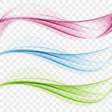 Set of abstract transparent waves. Set of abstract color wave. Color smoke wave. Transparent color wave. Blue, pink, green color. Wavy design Stock Photography