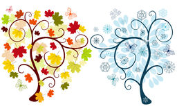 Set of abstract trees. Set of abstract  autumn and winter trees on a white background for design Royalty Free Stock Photography