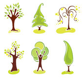 Set abstract trees Royalty Free Stock Photography