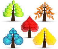 Set of abstract trees. Vector set of abstract trees Stock Photo
