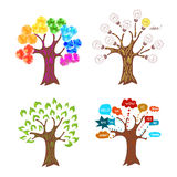 Set of abstract trees. Concepts of idea, ecology, connection, creative. Stock Photo
