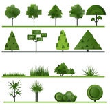 Set of abstract trees, shrubs, grass on a white. Background. Vector illustration stock illustration