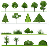 Set of abstract trees, shrubs, grass on a white Stock Photography