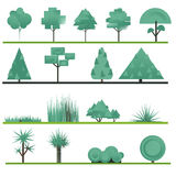 Set of abstract trees, shrubs, grass on a white Royalty Free Stock Photos